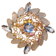 Gorgeous FROSTED GLASS Blue Rhinestone Vintage Brooch