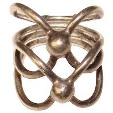 Awesome MODERNIST STERLING Vintage Openwork Design Ring