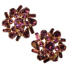 Fabulous PURPLE Vintage Rhinestone Clip Earrings
