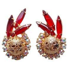D&E JULIANA Red & Aurora Rhinestone Vintage Earrings - with Filigree Spheres