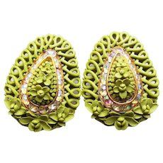 Gorgeous GREEN CELLULOID Early Plastic & Rhinestone Vintage Earrings