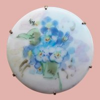 Gorgeous Antique Hand Painted Porcelain Estate Pin Brooch - Forget Me Nots