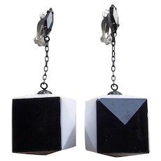 1960s Mod LEWIS SEGAL California Black & White Cube Dangle Earrings - Vintage Estate Signed