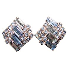 Gorgeous ICE BLUE Vintage Rhinestone Clip Earrings