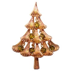 Gorgeous MYLU Signed CHRISTMAS TREE Vintage Peridot Crystal Dangles Brooch