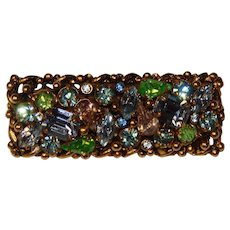 Fabulous BARCLAY Signed Vintage Colored Rhinestones Brooch