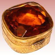 Fabulous VILLANI ITALY Vintage Amber Glass Top Vintage Trinket Box