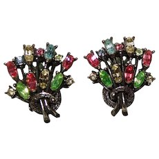 Gorgeous COLORED RHINESTONE Vintage Clip Earrings