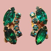 Gorgeous Green & Green Aurora Rhinestone Vintage Earrings