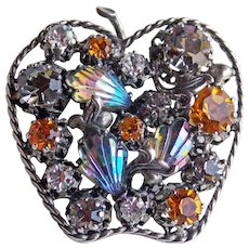 Gorgeous STAR Apple Shaped Rhinestone & Carnival Glass Vintage Brooch - Made in Austria