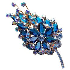 Fabulous D&E JULIANA Bermuda Blue & Aurora Rhinestone Vintage Estate Pin Brooch