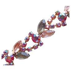 Gorgeous Pink Aurora & Smoke Rhinestone Vintage Bracelet