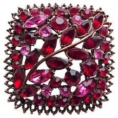 Gorgeous RED & PINK RHINESTONE Vintage Estate Pin Brooch