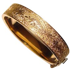 Fabulous FM CO. 12K Gold Filled Patterned Vintage Bangle Bracelet