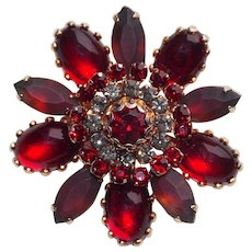 Gorgeous RED RHINESTONE Vintage Brooch - With Glowing Stones and Frosted Stones