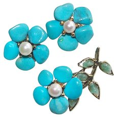 Gorgeous SWOBODA Signed Vintage Brooch & Earrings Set - Turquoise Colored Stones and Cultured Pearls