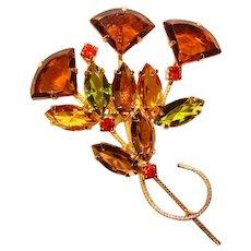 Fabulous FAN SHAPED Glass Stones Vintage Navette Rhinestone Brooch