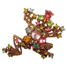 Fabulous HOLLYCRAFT FROG Signed Colored Rhinestone Vintage Brooch