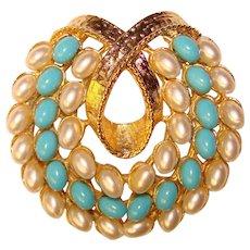 Gorgeous ART Signed Aqua & Faux Pearl Vintage Brooch