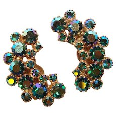 Fabulous WEISS Peacock Aurora Rhinestone Vintage Clip Earrings