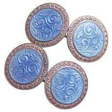 Gorgeous Art Deco Sterling & Blue Enamel Cufflinks