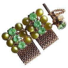 GREEN RHINESTONE & Lucite Stones Mesh Wrap Vintage Cufflinks