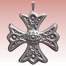 Gorgeous REED & BARTON Sterling Christmas Cross Medallion Ornament - 1975