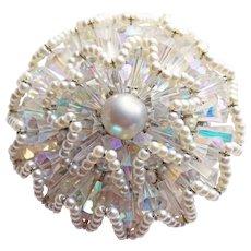 Fabulous VENDOME Signed Aurora Crystal Vintage Brooch
