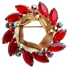 Gorgeous RED & RED AURORA Rhinestone Vintage Brooch - Open Backed Stones
