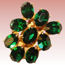 Fabulous ART DECO Era Green Rhinestone Dress Clip Brooch