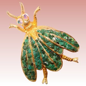 Fabulous Wiesner WINGED INSECT Vintage Brooch