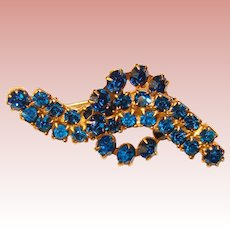 Gorgeous CAPRI BLUE Vintage Rhinestone Brooch
