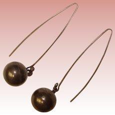 Wonderful STERLING Modernist Design Vintage Long Dangle Earrings