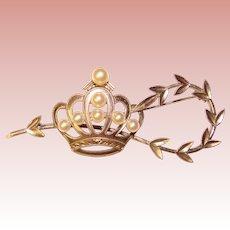Fabulous Sterling & Akoya Cultured Pearls CROWN & LAUREL Vintage Brooch