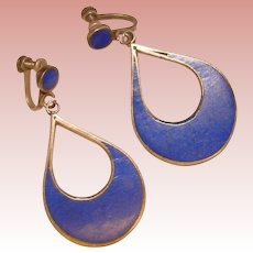 Gorgeous MEXICAN STERLING Blue Inlay Vintage Dangle Earrings