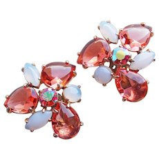 Fabulous SCHIAPARELLI Pink Opalescent Glass Aurora Rhinestone Vintage Clip Earrings - Open Backed Stones