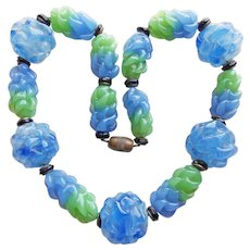 Fabulous ART DECO Blue & Green Glass Beads Necklace