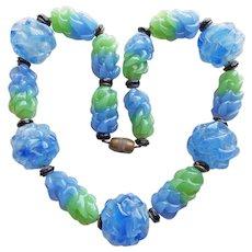 Fabulous ART DECO Blue & Green Glass Beads Necklace