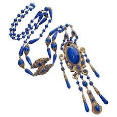 Fabulous CZECH ART DECO Blue Glass Sautoir Flapper Necklace - Signed Czechoslovakia