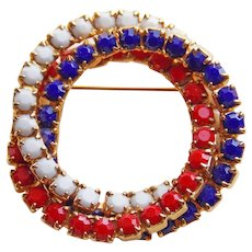 Awesome RED WHITE & BLUE Rhinestone Vintage Circle Brooch