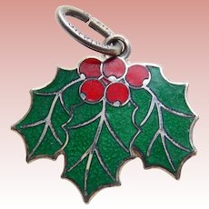 Beau Sterling & Enamel HOLLY Vintage Charm - Christmas Holiday