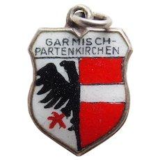 Vintage 800 Silver & Enamel Garmisch-Partenkirchen Estate Charm - Souvenir of Germany