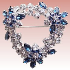 Gorgeous BLUE & CLEAR RHINESTONE Vintage Estate Brooch