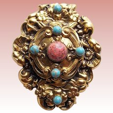 Fabulous Ornate Glass Stones Vintage Dress Clip Brooch - Colors of Turquoise & Coral