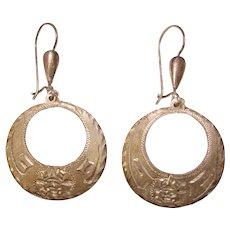 Fabulous MEXICAN STERLING Engraved Design Vintage Dangle Earrings