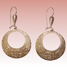 Fabulous MEXICAN STERLING Engraved Design Vintage Dangle Earrings