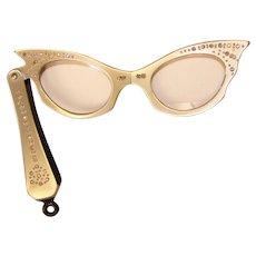 Fabulous GRAY LUCITE Rhinestone Vintage Folding Cat's Eye Glasses