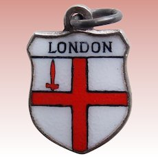 Vintage LONDON Sterling & Enamel Estate Charm - Souvenir of England Great Britain