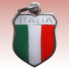 Vintage ITALIA 800 Silver & Enamel Estate Charm - Souvenir of Italy