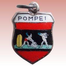 Vintage POMPEI Pompeii 800 Silver & Enamel Estate Charm - Souvenir of Italy
